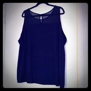 Sheer top navy tank